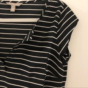 Black white striped business casual short sleeve